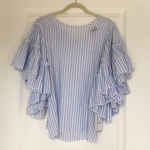 Blue & white striped summer top with bell sleeve